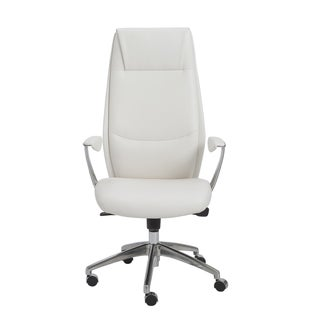 Crosby White/ Aluminum High Back Office Chair
