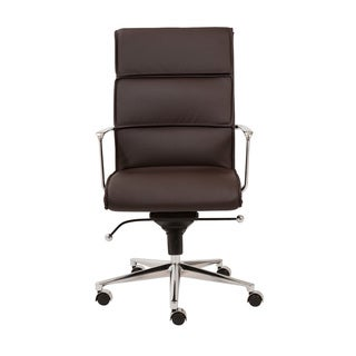 Leif Brown Leatherette/ Chrome High Back Office Chair