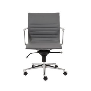 Kyler Grey Leatherette/ Chrome Low Back Office Chair
