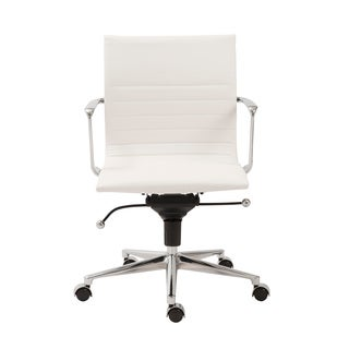 Kyler White Leatherette/ Chrome Low Back Office Chair