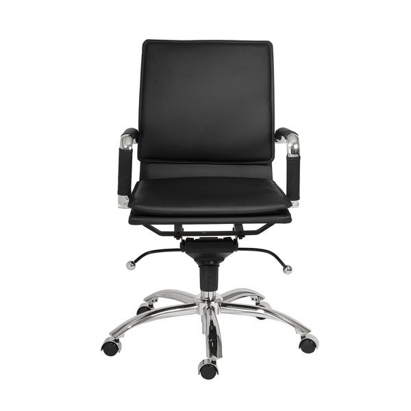 Gunar Pro Black Leatherette/ Chrome Low Back Office Chair