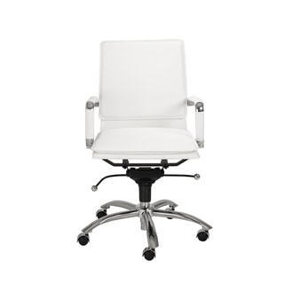 Gunar Pro White Leatherette/ Chrome Low Back Office Chair