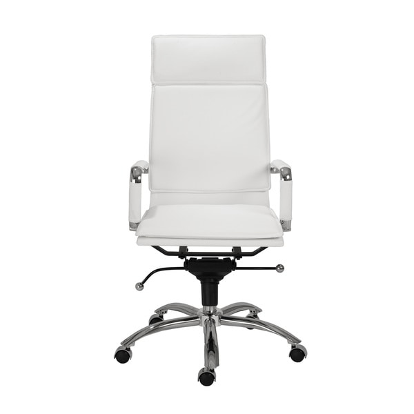 Gunar Pro White Leatherette/ Chrome High Back Office Chair
