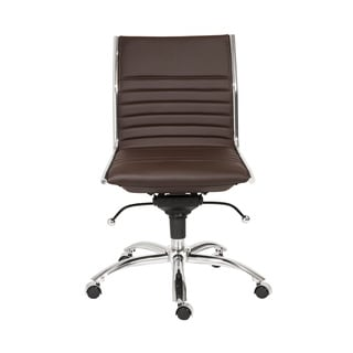 Dirk Brown/ Chrome Low Back Armless Office Chair