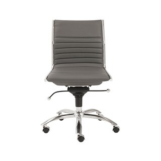 Dirk Grey/ Chrome Low Back Armless Office Chair