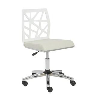 Sophia White/ Chrome Armless Office Chair
