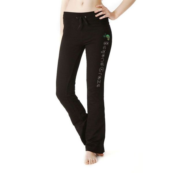 Soho Junior Black Cotton Open Bottom Sweatpants with Embroidery