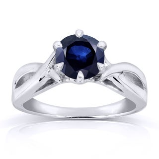 Annello 14k White Gold 1 Carat Blue Sapphire Solitaire Ring