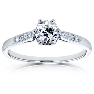 Annello 14k White Gold 1/2ct TDW Old Mine Cut Diamond Ring (G, SI1)
