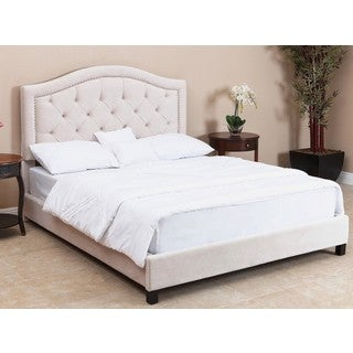 ABBYSON LIVING Hillsdale Tufted Ivory Velvet Bed, Queen/Full