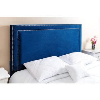 Abbyson Living Tamey Nail Head Trim Navy Blue Velvet Queen/ Full Headboard