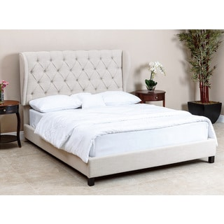 ABBYSON LIVING Chambers Tufted Beige Linen Bed, Queen/Full