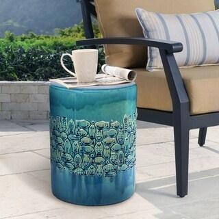 ABBYSON LIVING Bali Teal Ceramic Garden Stool
