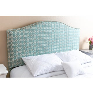 Abbyson Living Riley Nail Head Trim Turquoise Pattern Linen Queen/ Full Headboard