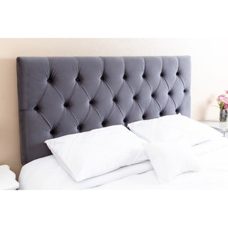 ABBYSON LIVING Connie Tufted Charcoal Velvet Headboard, Queen/Full