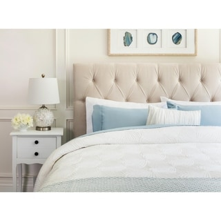 ABBYSON LIVING Connie Tufted Ivory Velvet Queen/ Full Headboard