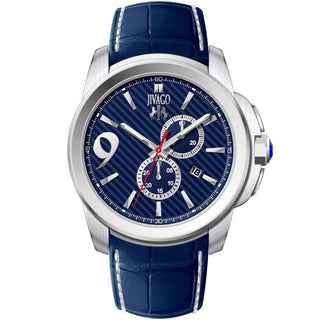 Jivago Men's JV1518 Gliese Round Blue Leather Strap Watch