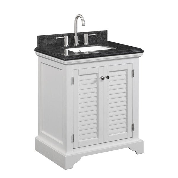 30-In Key West Bath Vanity, White Oak Finish