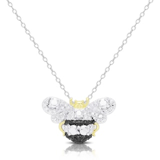 Finesque Silver Overlay Diamond Accent Bumblebee Necklace