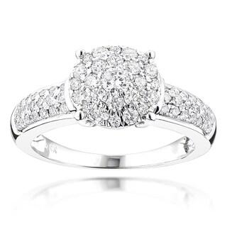 Luxurman 14k White Gold 1ct TDW Diamond Cluster Engagement Ring (G-H, VS1-VS2)