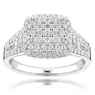 Luxurman 14k White Gold 1 1/5ct TDW Diamond Engagement Ring (G-H, VS1-VS2)