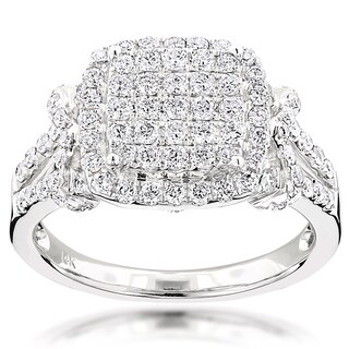 Luxurman 14k White Gold 1 1/2ct TDW Diamond Halo Engagement Ring (G-H, VS1-VS2)