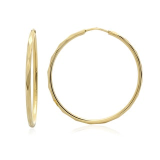 14k Gold Large Round Facetada Hoop Earrings 1.5 inch