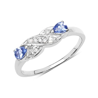 Malaika Sterling SIlver 1/3ct TDW Diamond and Tanzanite Ring (I-J, I2-I3)