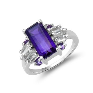 Malaika Sterling Silver 4 1/5ct TGW Amethyst and White Topaz Ring