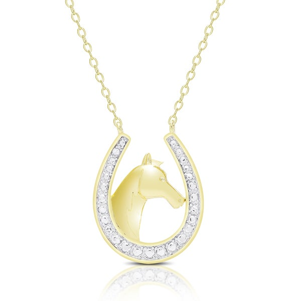 Finesque Gold Overlay Diamond Accent Horseshoe Necklace