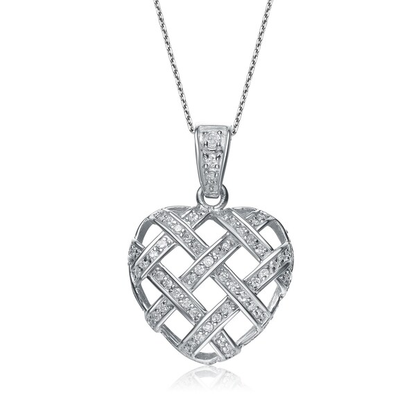 Collette Z Sterling Silver White Cubic Zirconia Woven Heart Pendant