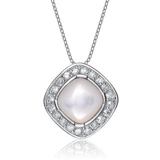 Collette Z Sterling Silver White Pearl Cubic Zirconia Oval Pendant
