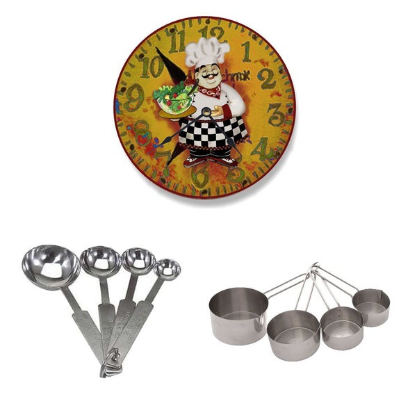 Stupell Home Dcor Collection Italian Chef with Salad Wall Clock + Stainless Steel Measuring Spoon/Cup Set