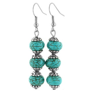 Trendy Three Stone Turquoise Drop Dangle Earrings