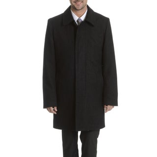 Steve Harvey Men's Charcoal Herringbone Coat