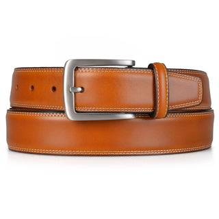 Vance Co. Men's Topstitched Genuine Leather Dress Belt