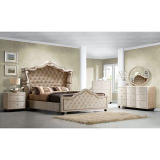 Diamond Canopy Golden Beige Velvet Tufted 5-piece Bedroom Set
