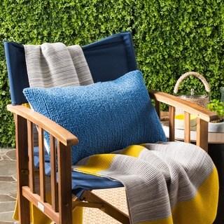 Safavieh Soleil Solid Indoor/ Outdoor Light Marine Blue 12-inch x 20-inch Throw Pillows (Set of 2)