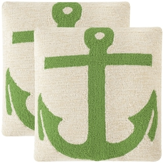 Safavieh Soleil Ahoy Indoor/ Outdoor Sunshine Green 20-inch Square Throw Pillows (Set of 2)