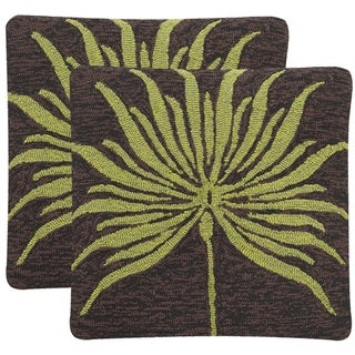 Safavieh Soleil Leslie Verte Indoor/ Outdoor Brown Tropical Green 20-inch Square Throw Pillows (Set of 2)