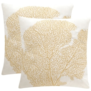Safavieh Soleil Spice Fan Coral Indoor/ Outdoor Gold 20-inch Square Throw Pillows (Set of 2)