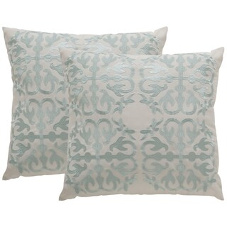 Safavieh Soleil Moroccan Indoor/ Outdoor Artic Blue 20-inch Square Throw Pillows (Set of 2)