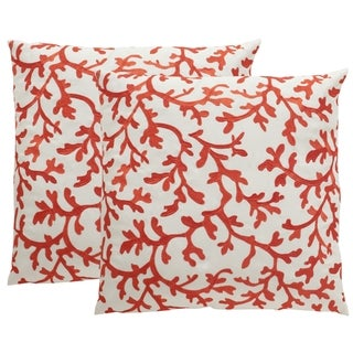 Safavieh Soleil Coral All Over Indoor/ Outdoor Candy Red 20-inch Square Throw Pillows (Set of 2)