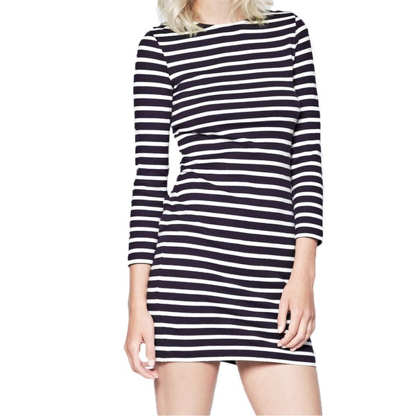 French Connection Women's Navy and White Cotton Striped Dress