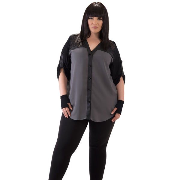 Women's Grey Panel Plus Size Top