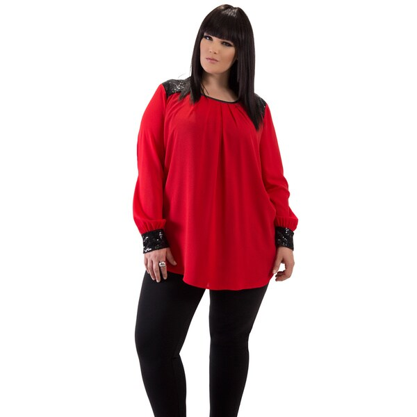 Women's Red Sequin Plus Size Tunic