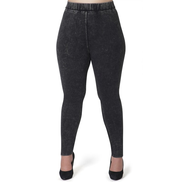 Women's Acid Wash Plus Size Jeggings