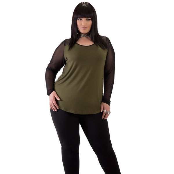 Women's Green Mesh Plus Size Top
