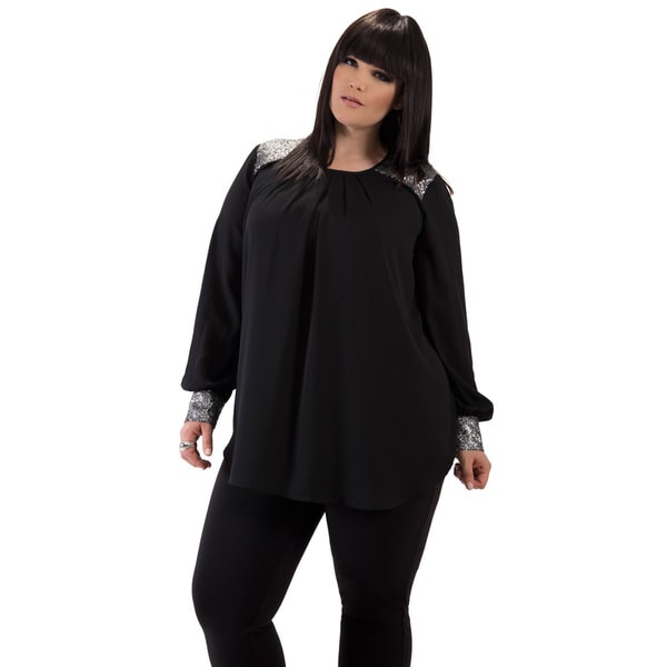 Women's Black Sequin Plus Size Tunic