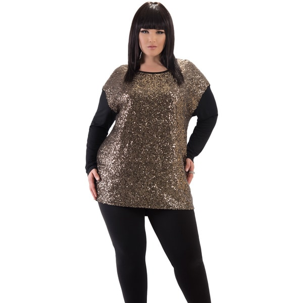 Women's Gold Sequin Holiday Plus Size Top